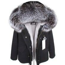 Mmk real casaco de pele nova moda real gola de pele de raposa inverno roupas femininas removível engrossado jaqueta curta pike casaco