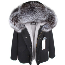 Mmkリアルファーコートファッションリアルフォックスファー襟の冬の女性の衣類着脱可能な肥厚ジャケットショートパイクコート