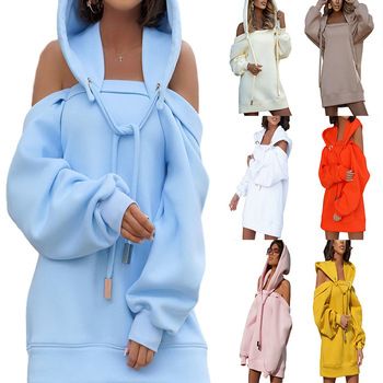 Autumn Winter Hoodie Dresses For Women Off-Shoulder Sweater Shirts Casual Oversize Vestidos Female Hoody Tops 1