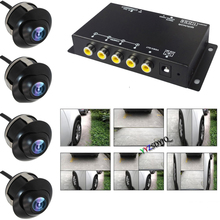 Car Parking Panoramic View Rearview 4 Way Front/Rear/Right/Left View Camera 360° Monitoring VCR Image Split Screen Control Box