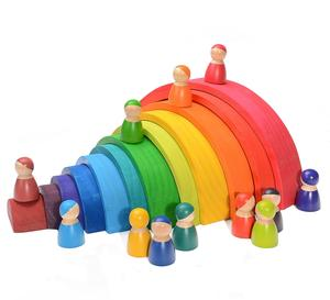 Block-Toys Montessori-Toys Building-Blocks Educational-Toys Stacker Wooden Rainbow Baby