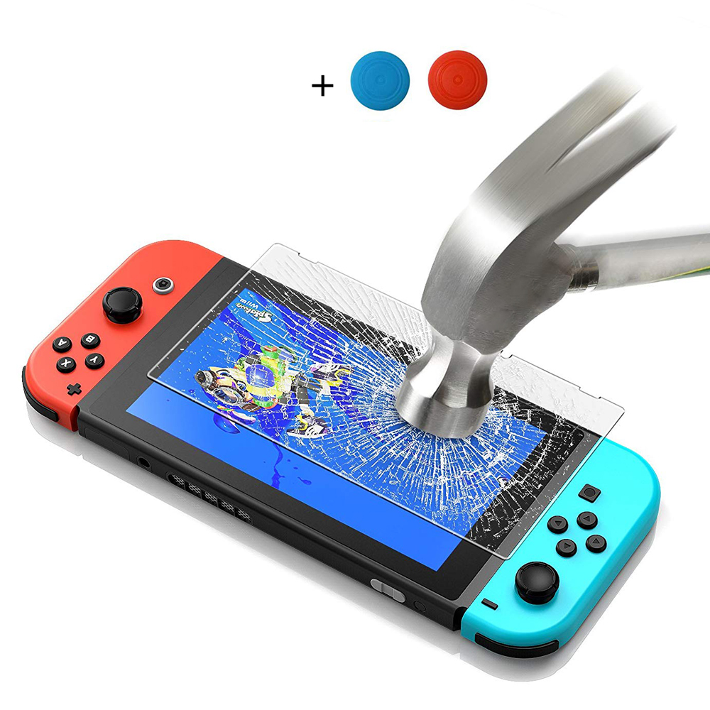 Premium Tempered Glass Screen Protector & Thumbsticks For Nintendo Switch Screen Protector 9H Accessories For Nintend Switch NS