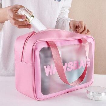 PVC Transparent Makeup Bag Women Wash Bag Travel Organizer Large Capacity Cosmetic Storage Bag Hand Clear Bags Neceser 2020