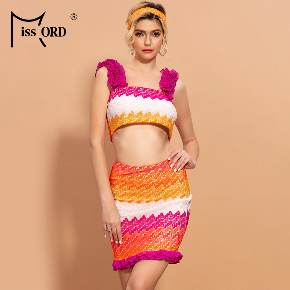 Missord 2020 Summer Ruffles Patchwork 2pcs Women Set Sleeveless Women Top Mini Skirt Summer Holiday Set With Headband MM3106
