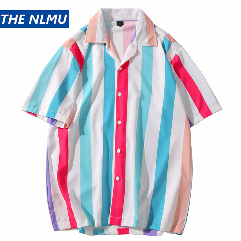 <font><b>Men</b></font> Hawaiian <font><b>Shirt</b></font> Summer Harajuku Stripe Beach <font><b>Shirts</b></font> <font><b>Short</b></font> <font><b>Sleeve</b></font> Male Tops <font><b>Striped</b></font> HH219 image