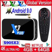 Ugoos X3 Pro tv, pudełko z systemem Android 9.0 S905X3 tv, pudełko X3 Cube 2GB 16GB odtwarzacz multimedialny X3 Plus 4GB DDR4 64G ROM 2.4G/5G WiFi 1000M 4K TVbox