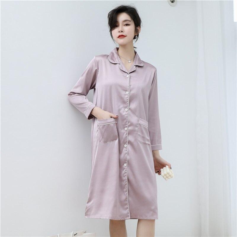 CAIYIER 2020 Silk Nightgown Sexy Lace Sleepwear Long Sleeve Turn-down Collar Night Dress Lingerie Bathrobe Gown Large Size M-3XL 14