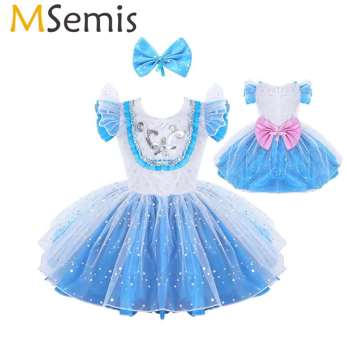 MSemis Kids Girls Modern Dancewear Ballroom Dress Stage Performance Costume Outfit Shiny Sequin Big Bowknot Tutu Dress Hair Clip