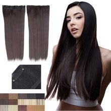 GIRLSHOW-extensiones de cabello largo y recto para mujer, 5 Clips, 24