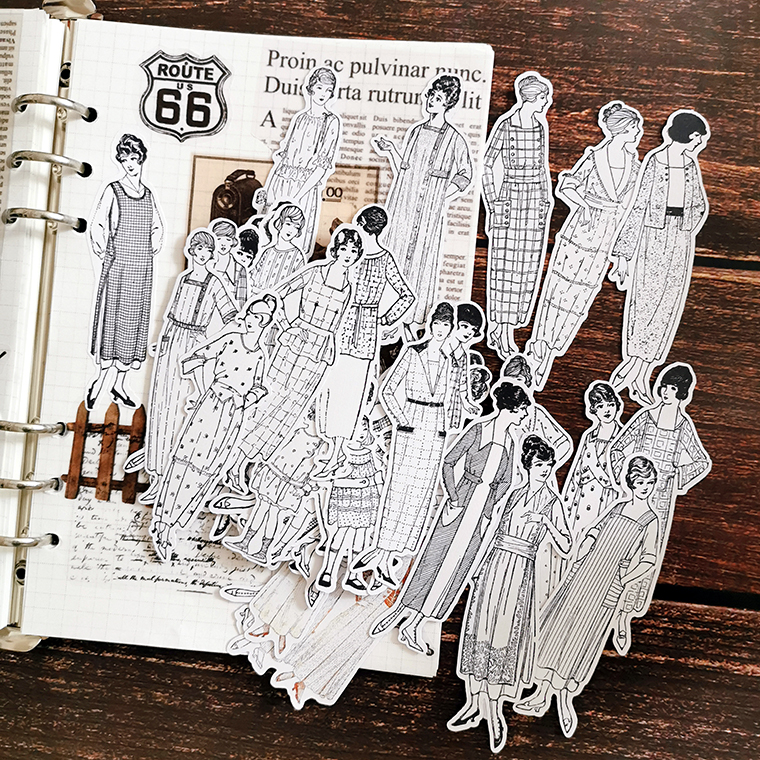 58pcs/bag Black And White Vintage Character Stickers DIY Scrapbooking Album Junk Journal Happy Planner Decorative Stickers
