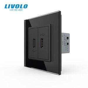Image 3 - Livolo White Crystal Glass Panel, Two Gang USB Plug Socket / Wall Outlet VL C792U 11/12/13/15,4colors,no logo