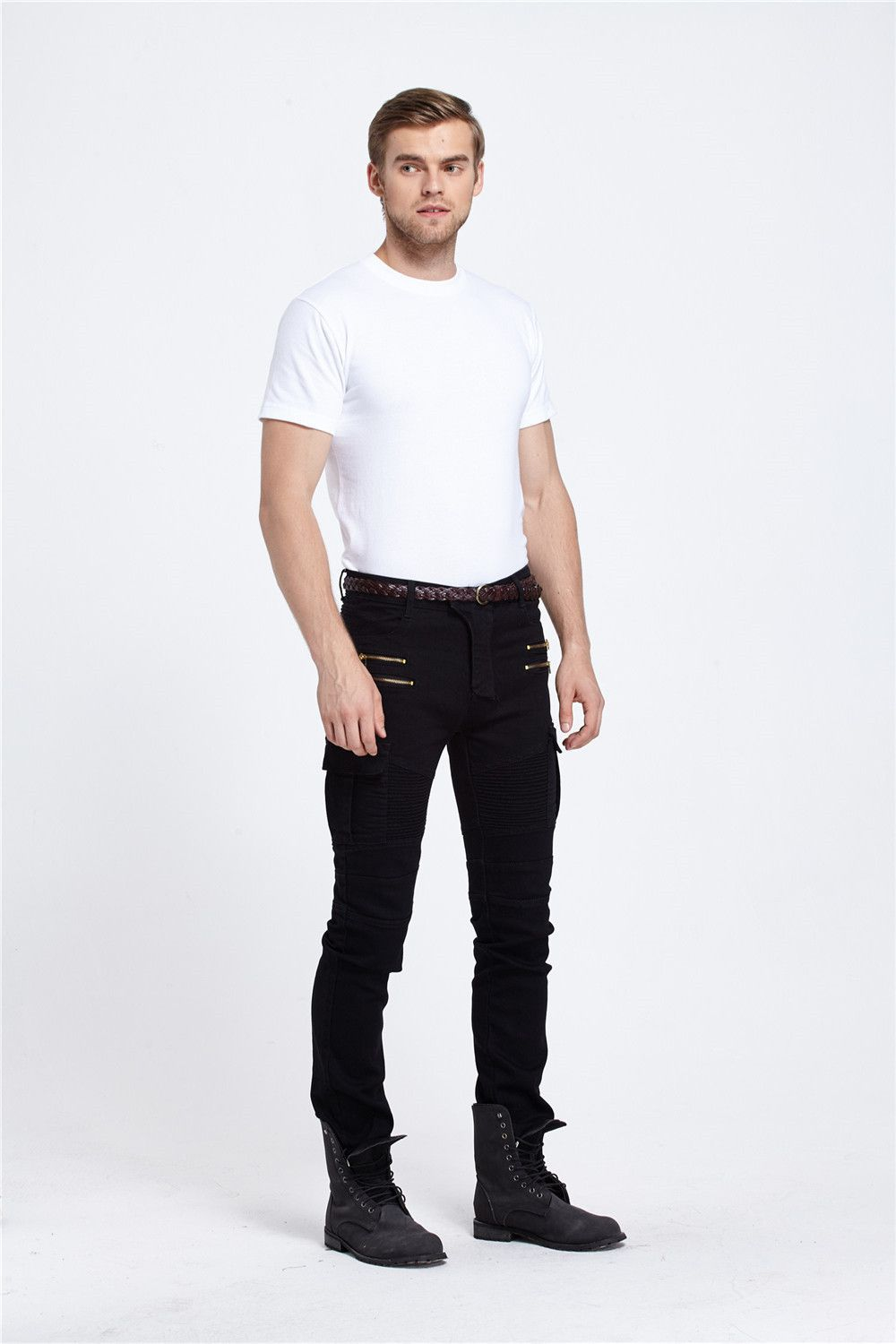 Hot Selling American JEANS Trend Pleated Elasticity Skinny Jeans Men's