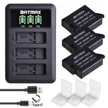 3 baterias dos pces para gopro hero 7 gopro 6/5 AHDBT 501 bateria + led 3 slot carregador usb com tipo c porto para gopro acessórios