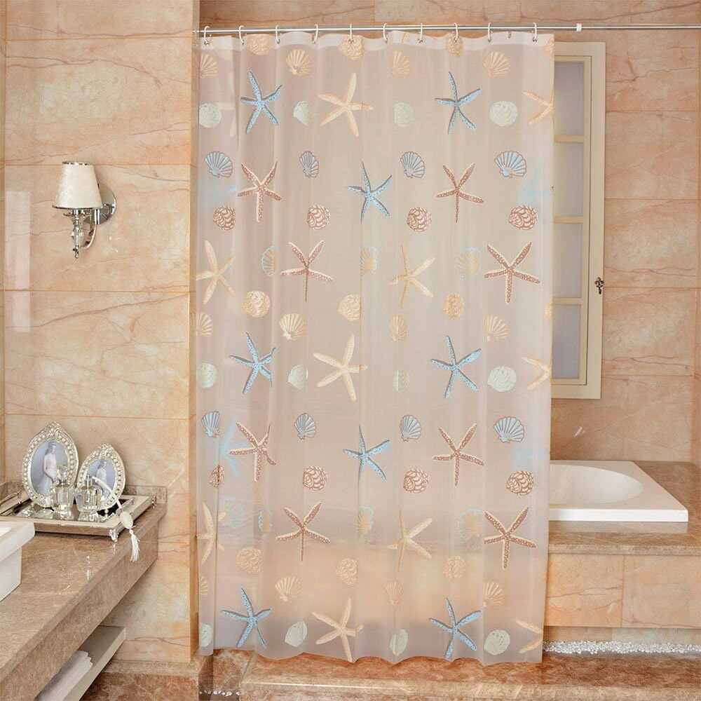 180*180cm Clear PEVA Waterproof Mildew Bathroom Curtain Seaside Style Shower Curtain Modern With 12pcs Hooks