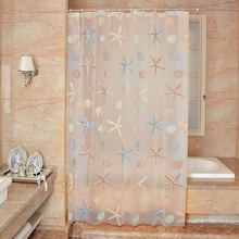 180*180cm Clear PEVA Waterproof Mildew Bathroom Curtain Seaside Style Shower Curtain Modern With 12pcs Hooks(China)
