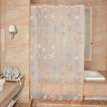 цена на 180*180cm Clear PEVA Waterproof Mildew Bathroom Curtain Seaside Style Shower Curtain Modern With 12pcs Hooks