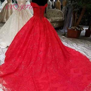 Image 4 - Vestido de boda AXJFU de lujo de princesa con cuentas de cristal y flores de encaje rojo, vestido de novia vintage con cuello de barco brillante con volantes 3392