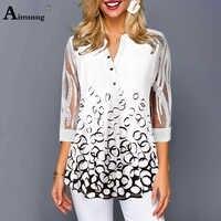 Aimsnug Plus Größe 4xl 5xl V-ausschnitt Einfache Weibliche Tops 4 Hülse Einreiher Splice Spitze 3/T shirt print Weiß Frauen T-shirt
