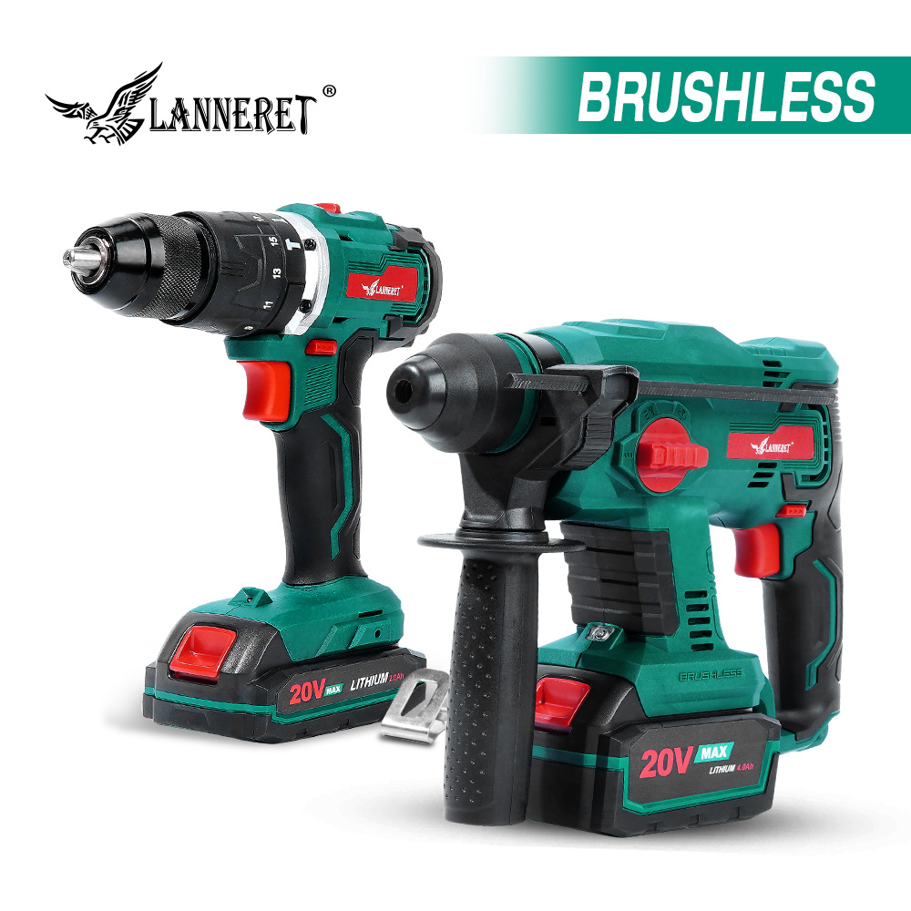 LANNERET Brushless Rotary Hammer Electric Drill Hammer 20V Electric Hammer 4 Function Hammering Machine Drilling Concrete Tool