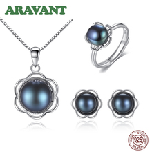 Retro Pearl Jewelry Set For Women 925 Sterling Silver Natural Pearls Flower Necklace Earring Open Ring