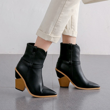 2020 autumn and winter casual western boots ladies ankle boots women 43 fashion short boots high heel pointed ankle boots