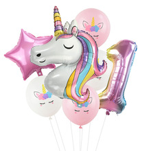7Pcs/lot Rainbow Unicorn Party Balloons Unicorn Birthday Decoration Number Balloon Kids Birthday Party Baby Shower Decor Globos