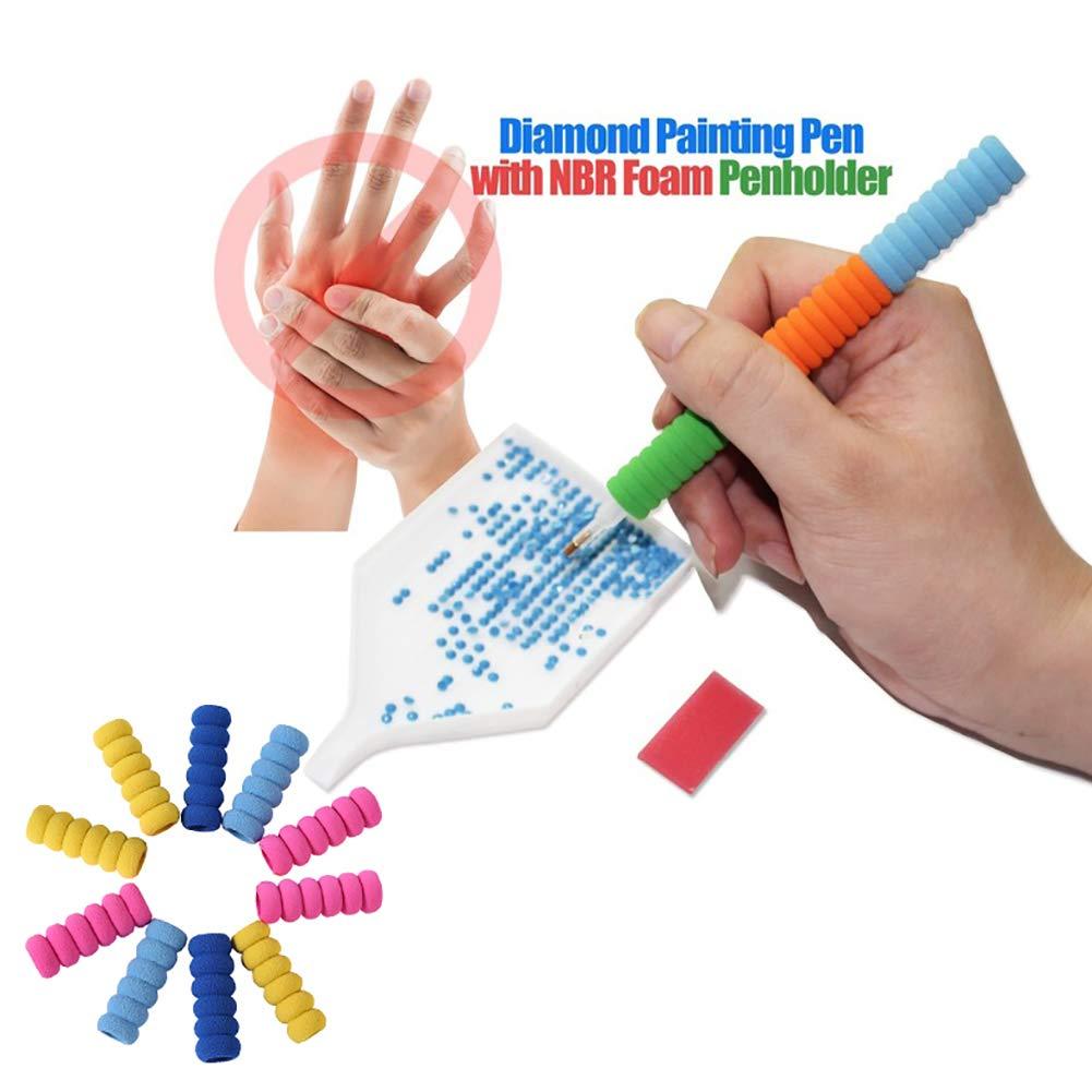 10 pçs pintura diamante acessórios diamante bordado caneta capa ferramentas esponja strass ponto mosaico caneta capa cor aleatória