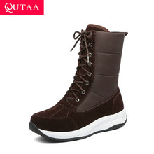 Women Shoes Snow-Boots Wedges QUTAA Winter Casual Lace-Up Ankle Down Round-Toe Cow-Suede-Down