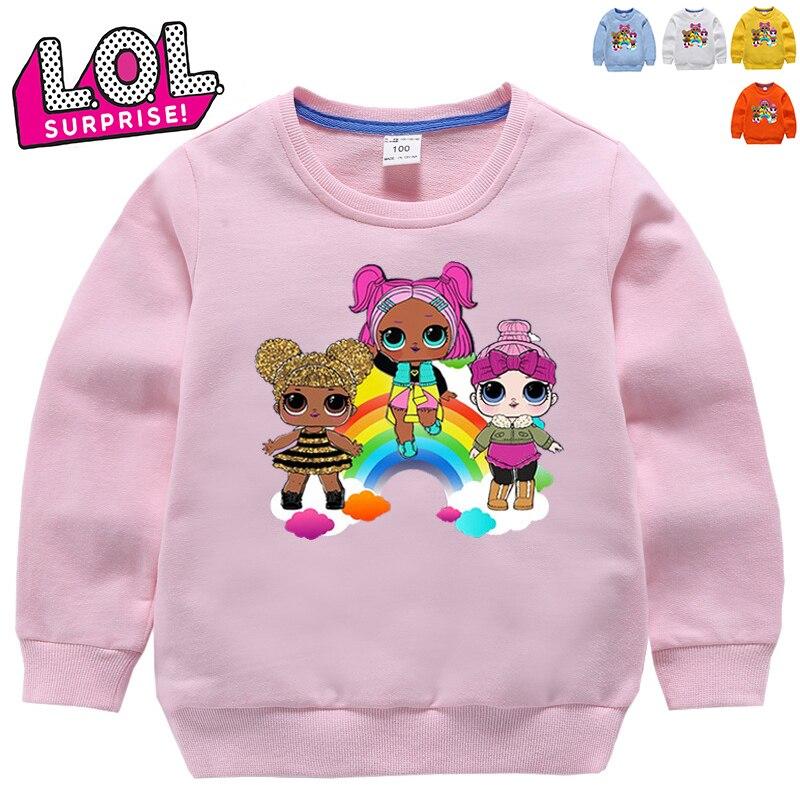 LOL Surprise poupées en coton manches longues ras du cou | T-Shirt de Sport, dessin animé enfants LOL Doll Harajuku sweat, cadeaux pour filles HT02