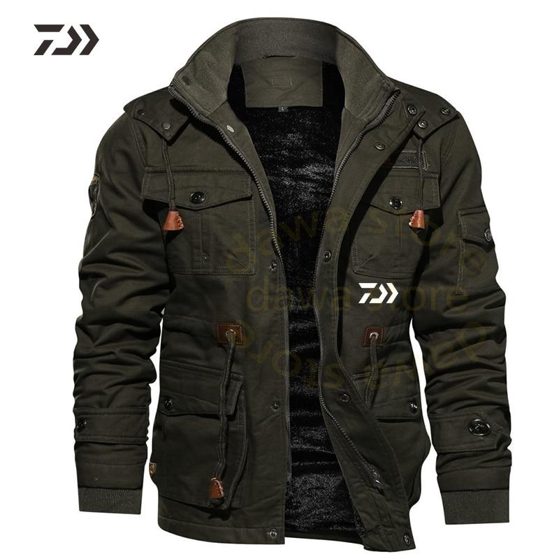 Daiwa Fishing Jacket Winter Fishing Suit Men Hoodie Multi-pocket Thicken Solid Fishing Shirts Men's Outdoor Clothing Fishing