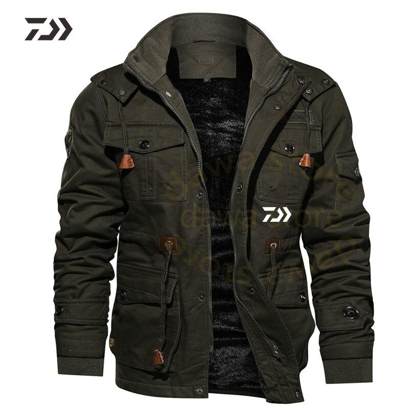 Daiwa veste de pêche hiver costume de pêche hommes à capuche multi-poche épaissir solide chemises de pêche hommes vêtements de plein air pêche