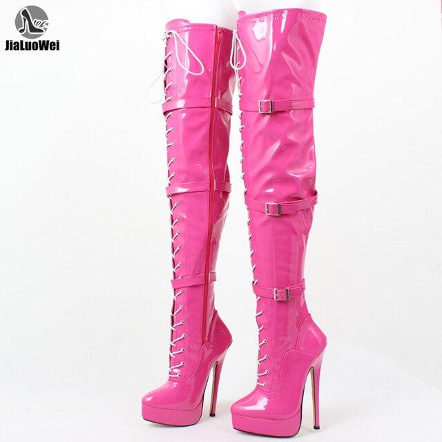 JIALUOWEI 7inch heel Sexy THIGH HIGH BOOTS high heel platform patent stiletto feish heels US5-15 EU36-46