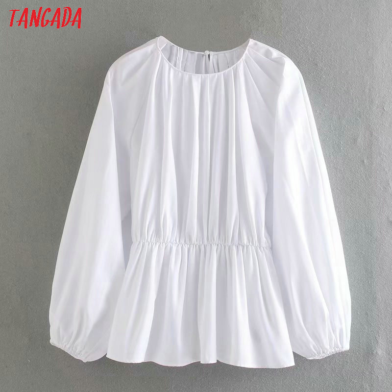 Tangada Women Solid White Shirts Long Sleeve Solid O-neck Elegant Pleated Tunic Tops Blouses 4Q31