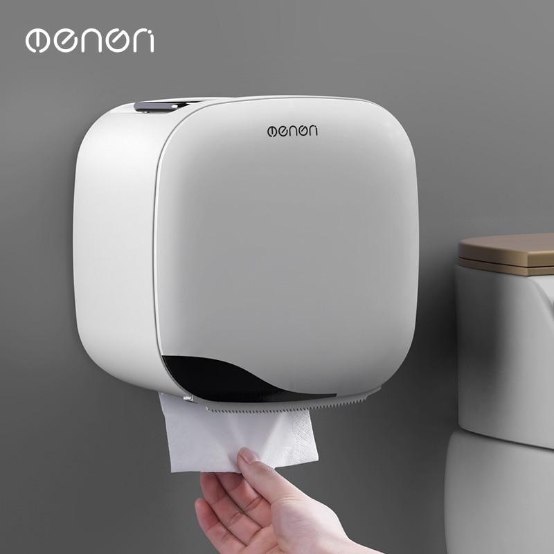 Wall Mount Toilet Paper Holder Shelf Tissue Box Waterproof Toilet Paper Tray Roll Paper Tube Bathroom Storage Box Organizer