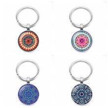 2019 New National Wind Mandala Kaleidoscope Fancy Pendant Key Chain Glass Convex Round Silver Keychain