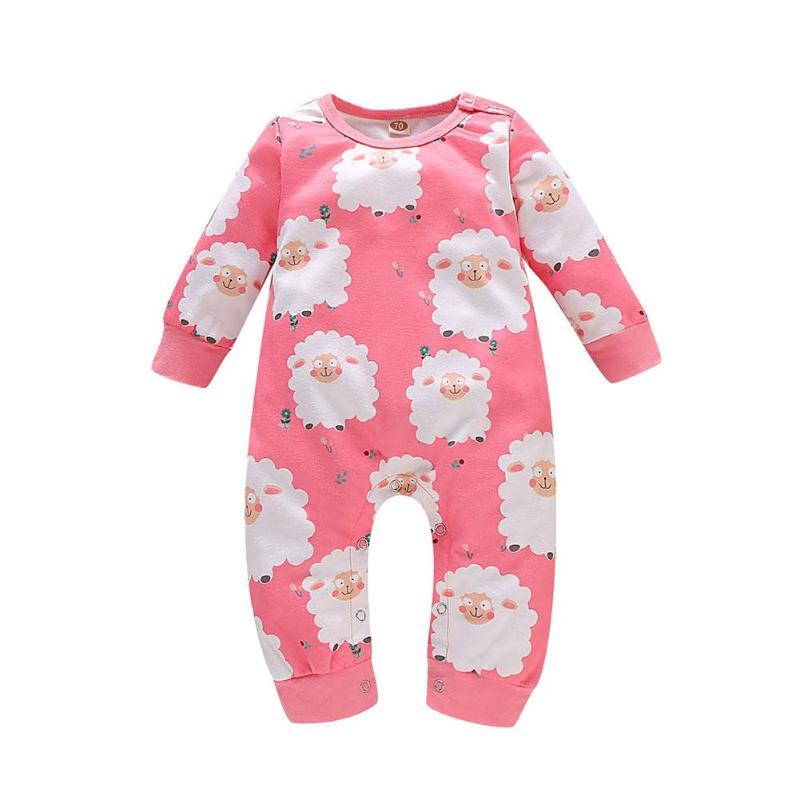 Комбинезоны для малышей; хлопковый комбинезон с круглым воротником и длинными рукавами с рисунком животных; пляжный костюм для мальчиков и девочек; домашняя одежда для отдыха - Цвет: Розовый