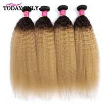 TODAY ONLY Kinky Straight Hair 1 3 4 Ombre Hair Bundles Remy Human Hair Extension Blonde Brazilian H