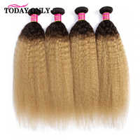 TODAY ONLY Kinky Straight Hair 1 3 4 Ombre Hair Bundles Remy Human Hair Extension Blonde Brazilian Hair Weave Bundle Deals 1B/27