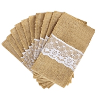 HLZS 100 Jute Burlap Pouch Lace Bag Wedding Party Home Dinner Tableware Supplies