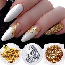 Holográfico ouro prata prego glitter folha de alumínio quebrado flocos paillette em pó prego lantejoulas ano novo design acessórios nl1858