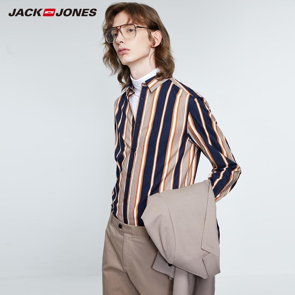 JackJones Men's 100% Cotton Business Casual Striped Long-sleeved Shirt Menswear| 219305527