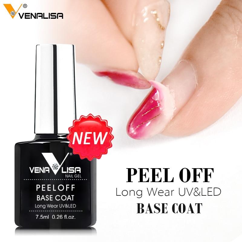 VENALISA New Arrival Easy Peel Off Water Base Coat Long Wear Tempered Nowipe Top Coat Basic Nail Gel Polish Enamel Varnish gels(China)