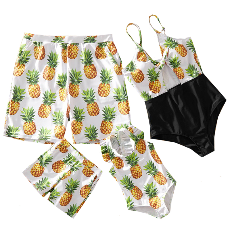 Family Matching Outfits Pineapple Swimsuits Mother Daughter Swimwear Father Son Swimming Trunks Mommy Dad And Me Clothes Look