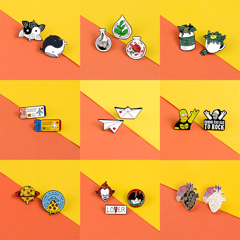 18 Styles Set Pins Clown Simpson Enamel Pin Badges Yin And Yang Fish Pins Brooches Lapel Clothes Bag Jewelry Gifts For Women