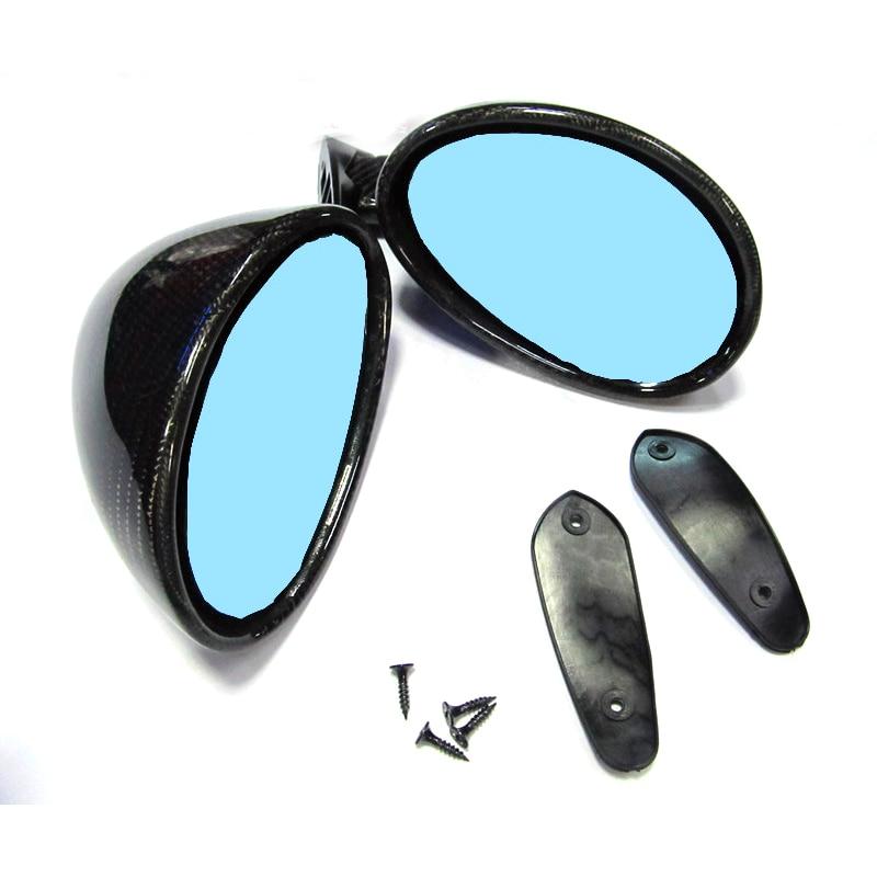 Californian authentic vintage mirror carbon+blue glass R+L