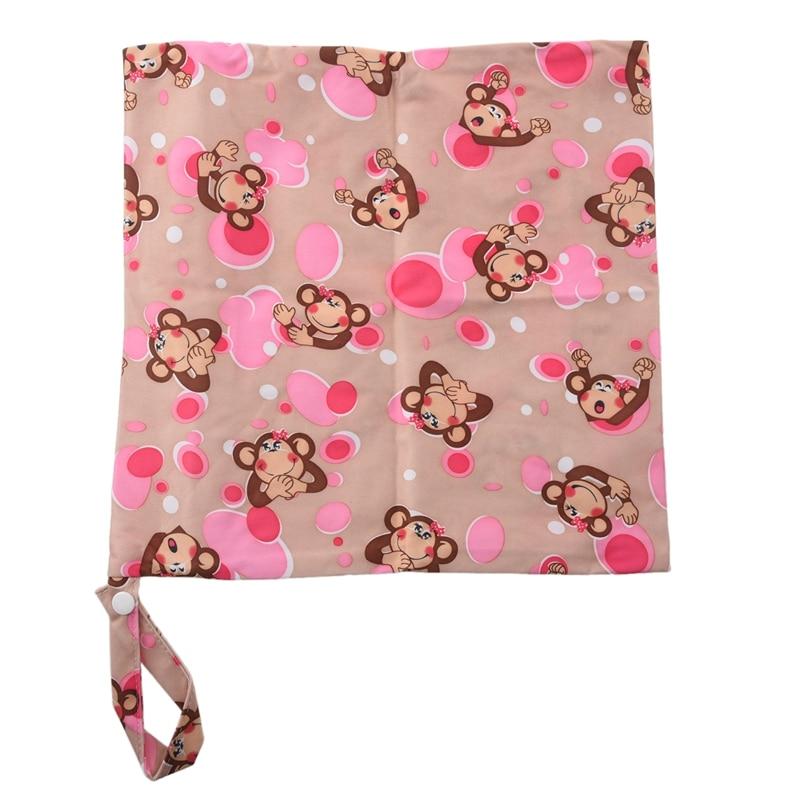 Baby Toddler Waterproof Zipper Reusable Cloth Diaper Bag Monkey Pattern