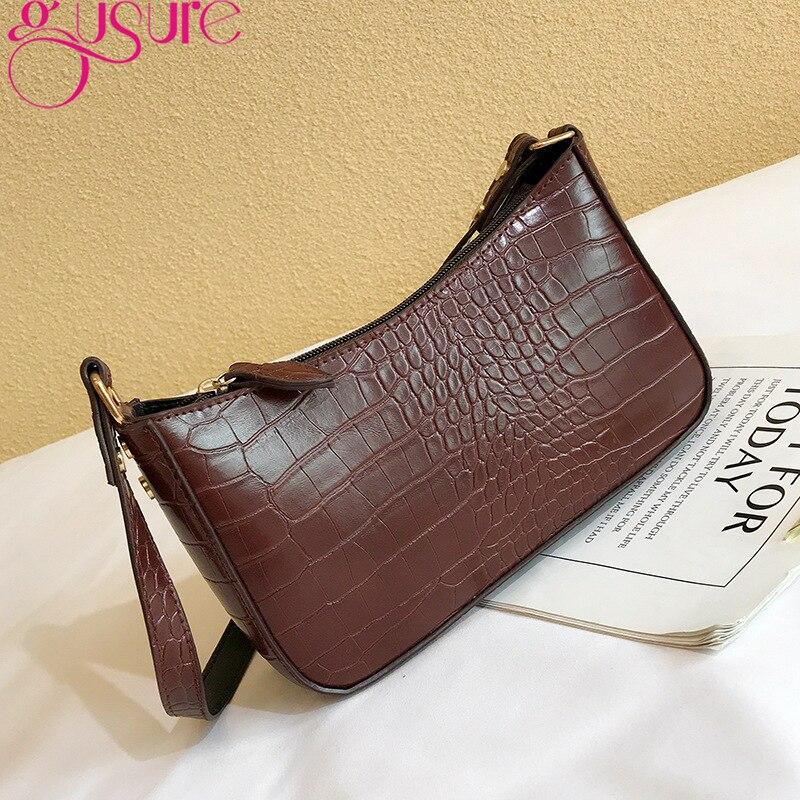 Gusure à la mode Vintage Crocodile motif épaule femmes sacs 2021 mode Baguette aisselle sac sac main femme femme fourre-tout sac à main