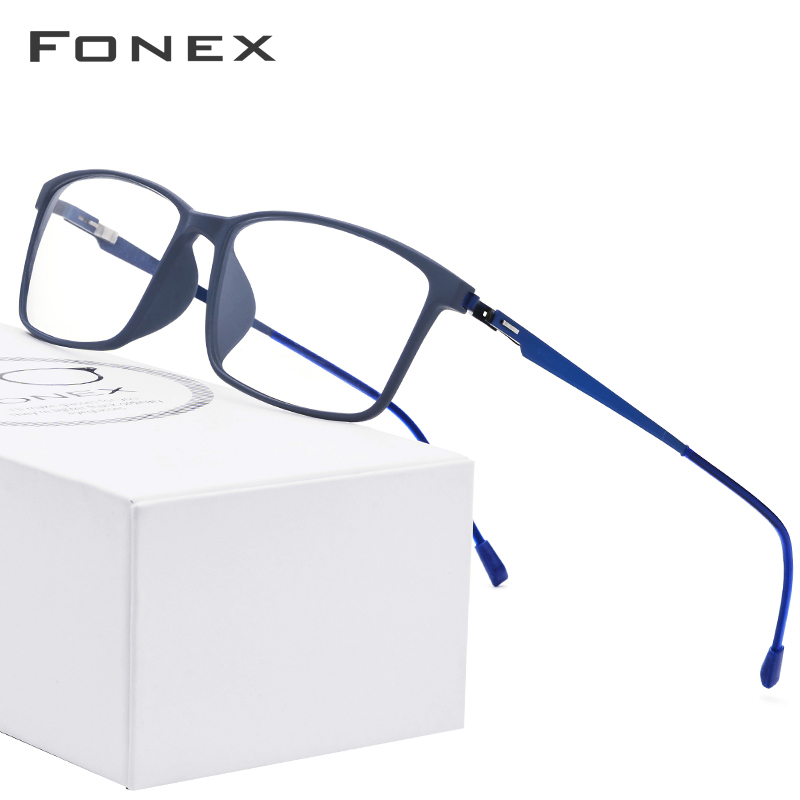 FONEX  Square TR90 Glasses Men Myopia Eyeglasses Frame Prescription Korean Optical Frame Screwless Eyewear 9855