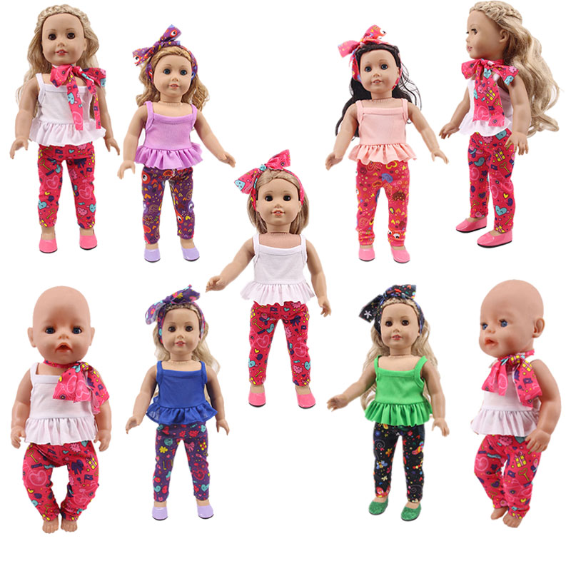 Doll Clothes 3Pcs/Set Silk/Head Hoop+Vest+Trousers For 18 Inch American Doll&43 Cm Born Doll For Generation Baby Girl`s Toy