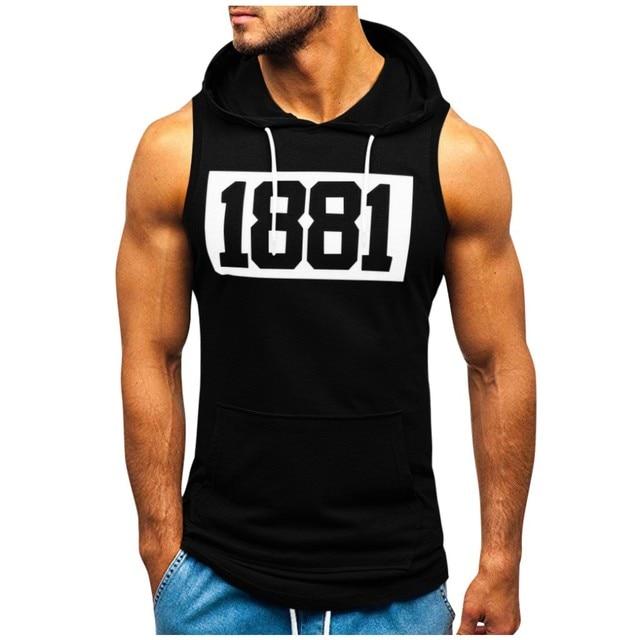Men Hoodies Tank Top Sleeveless Muscle Gym Sport Slim Vest Bodybuilding Hooded Hip Hop Streetwear Workout Elastic Men Tank Top 3